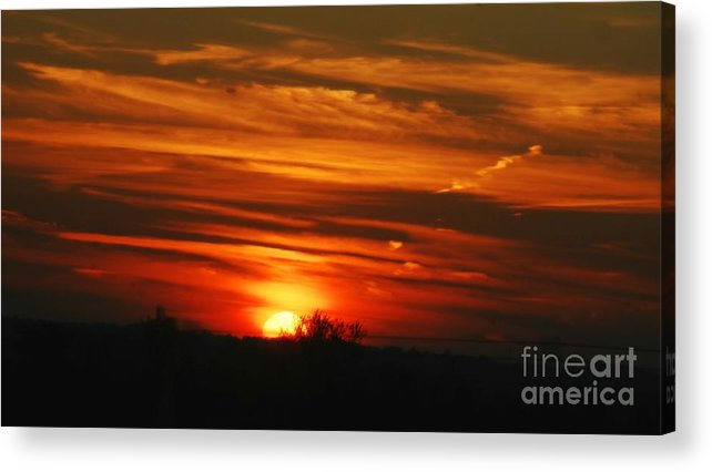 Landscape Acrylic Print featuring the photograph Hot Summer Night Sunset by Peggy Franz