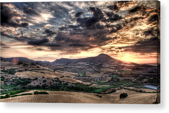 Sardegna Acrylic Print featuring the photograph Panoramic Sunset by Andrea Barbieri