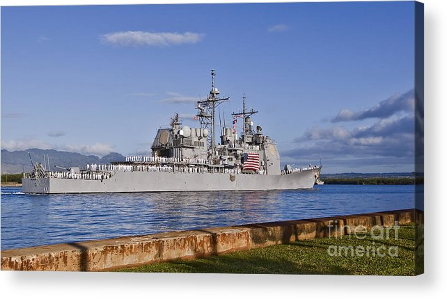 Uss Port Royal Acrylic Print featuring the photograph Sailors Aboard The Guided-missile by Stocktrek Images