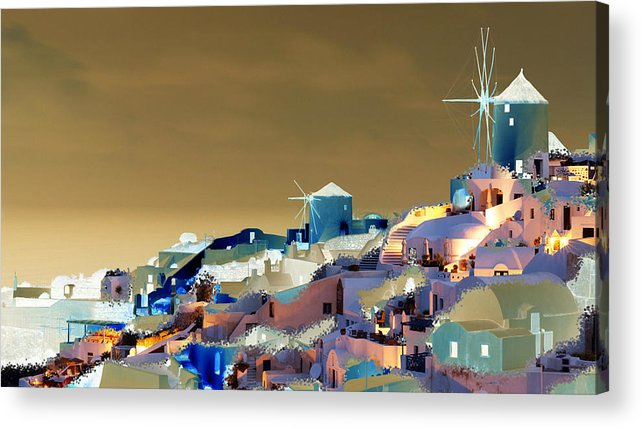 Nature Acrylic Print featuring the digital art Santorini by Ilias Athanasopoulos