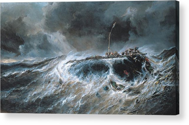 Boat Acrylic Print featuring the painting Shipwreck by Louis Isabey