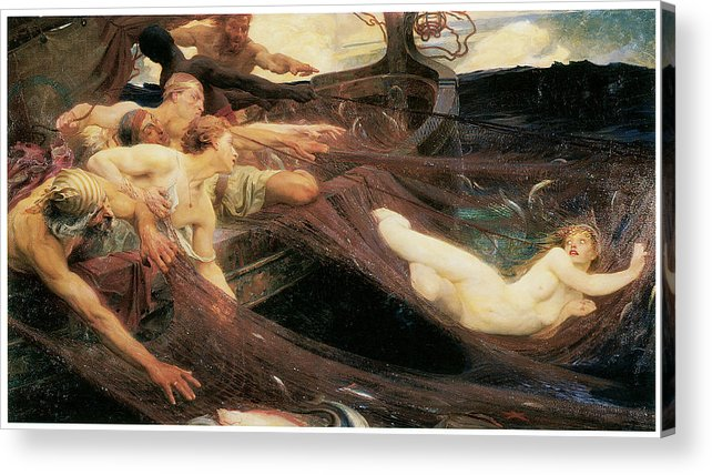 Herbert Draper Acrylic Print featuring the painting The Sea Maiden by Herbert Draper