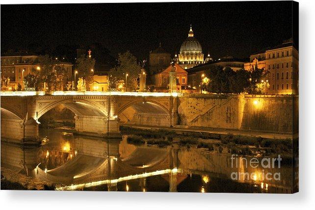 Worth Acrylic Print featuring the photograph Tiber River And Ponte Vittorio Emanuele II Bridge With St. Peter's Basilica. Vatican City. Rome by Bernard Jaubert