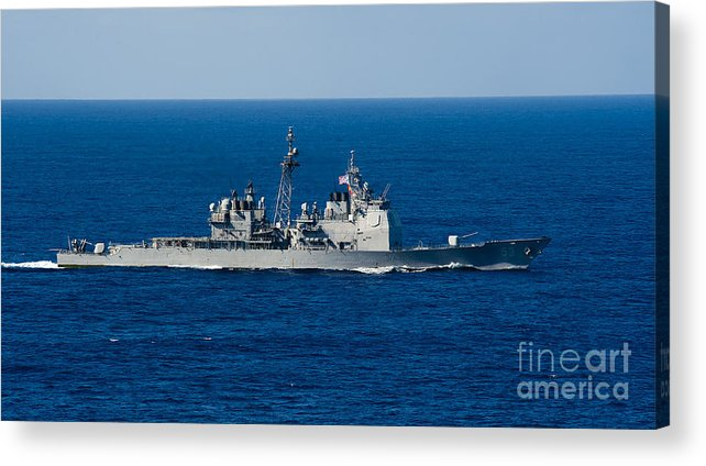 Side View Acrylic Print featuring the photograph Uss Mobile Bay Transits The Pacific by Stocktrek Images