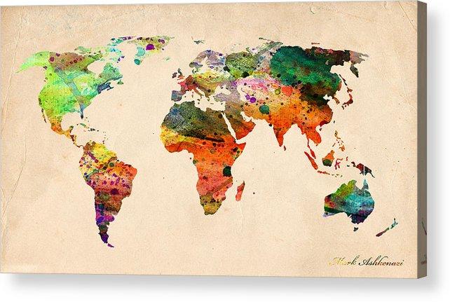 Landmark Acrylic Print featuring the digital art Watercolor World Map by Mark Ashkenazi