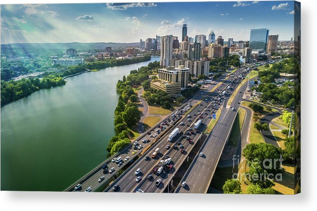 Austin Skyline Acrylic Print featuring the photograph Aerial View Of The Austin Skyline As Rush Hour Traffic Picks Up On I-35 by Austin Welcome Center