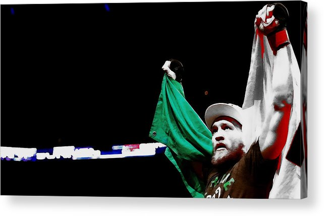 Conor Mcgregor Acrylic Print featuring the mixed media Conor Mcgregor And His National Colors by Brian Reaves
