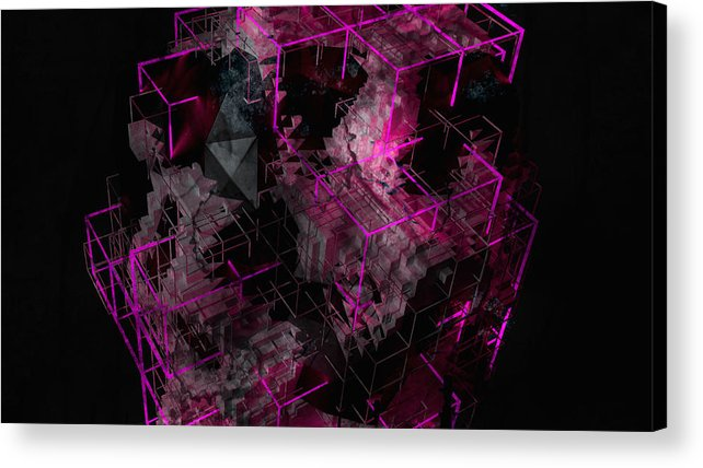 Abstract Acrylic Print featuring the digital art Abstract Crystal - Cg Render by Dimitris Christou