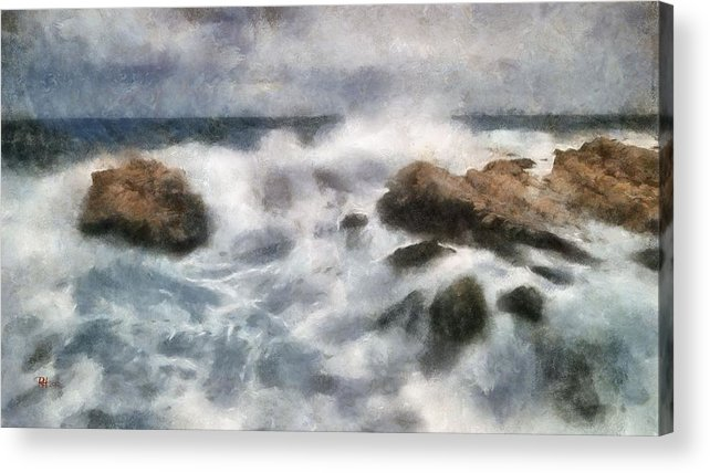 Seascape Acrylic Print featuring the painting Angry Sea by Russ Harris