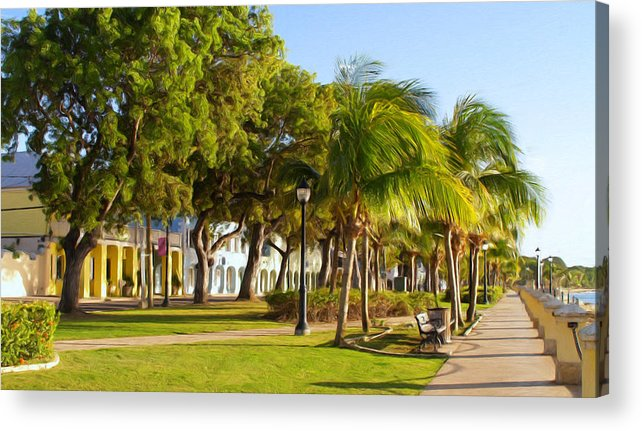 Caribbean Acrylic Print featuring the painting Caribbean Waterfront by Linda Morland