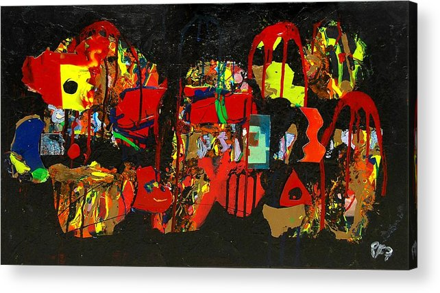 Abstract Acrylic Print featuring the painting Collage 1 by Paul Freidin