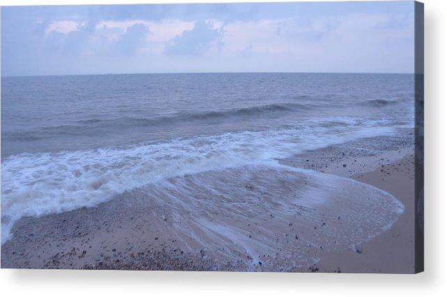 Dawn Acrylic Print featuring the photograph Corton Beach Dawn Ocean Waves 1 by Richard Griffin