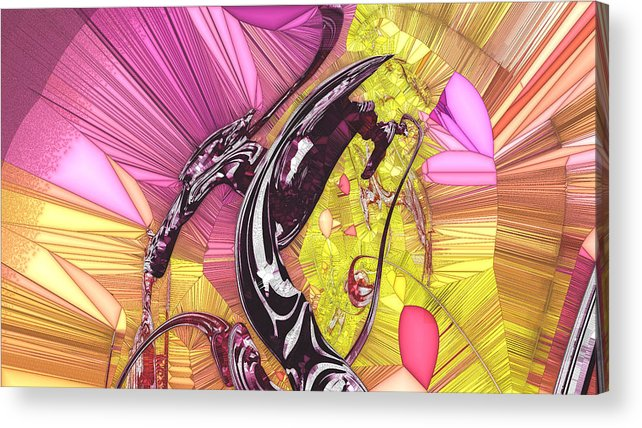 Stained Glass Acrylic Print featuring the digital art Diana by Marjan Mencin