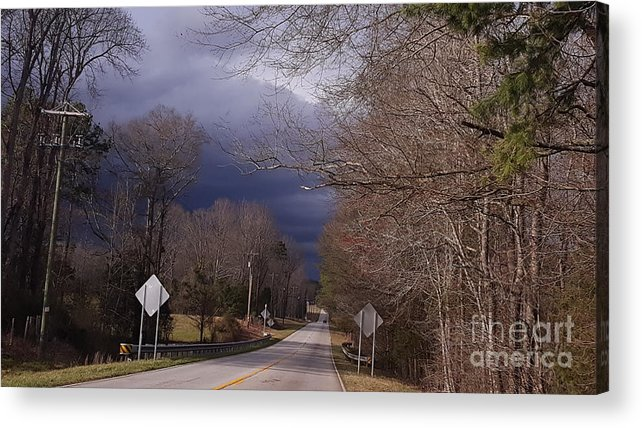 Storm Acrylic Print featuring the photograph Driving Towards Tumult by Rusty Gentry