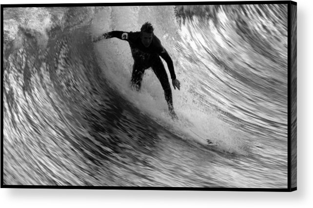 Dropping In At San Clemente Pier Acrylic Print featuring the photograph Dropping In At San Clemente Pier by Brad Scott