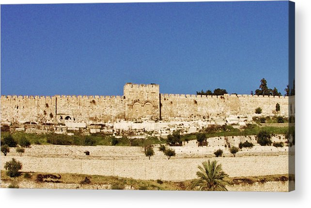 Eastern Gate Acrylic Print featuring the photograph Eastern Gate Temple Mount by Thomas Preston