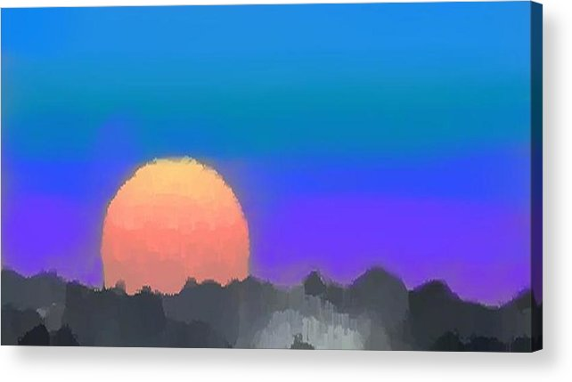 Evenung.sunset.sky.sun.background Forest.silence.rest Acrylic Print featuring the digital art Forest Sunset. by Dr Loifer Vladimir