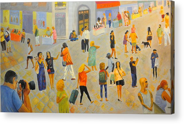 People Acrylic Print featuring the painting Friday In Tel Aviv by Asher Topel