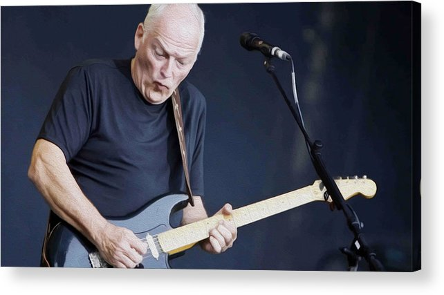 David Gilmour Acrylic Print featuring the painting Gilmour #003 By Nixo by Never Say Never