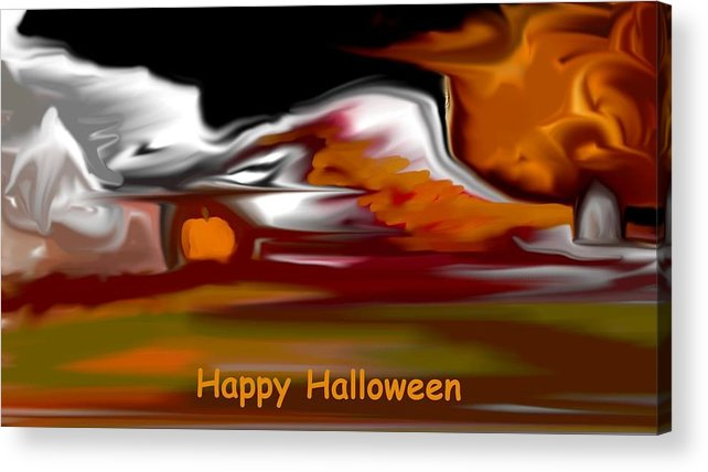 Abstract Digital Painting Acrylic Print featuring the digital art Happy Halloween by David Lane