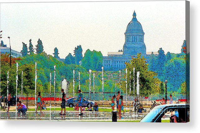 Park Acrylic Print featuring the photograph Heritage Park Fountain by Larry Keahey