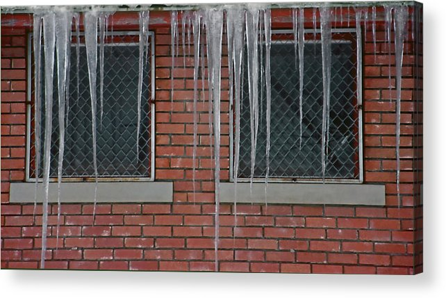 Ice Acrylic Print featuring the photograph Icicles 2 - In Front Of Windows Off Red Brick Bldg. by Steve Ohlsen