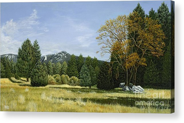 Landscape Acrylic Print featuring the painting Isomata Meadow by Jiji Lee
