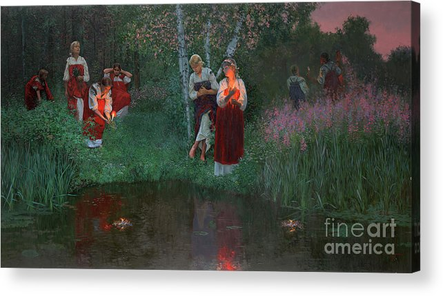 Girs Acrylic Print featuring the painting Ivan Kupala. Fortunetelling For Wreaths. by Simon Kozhin