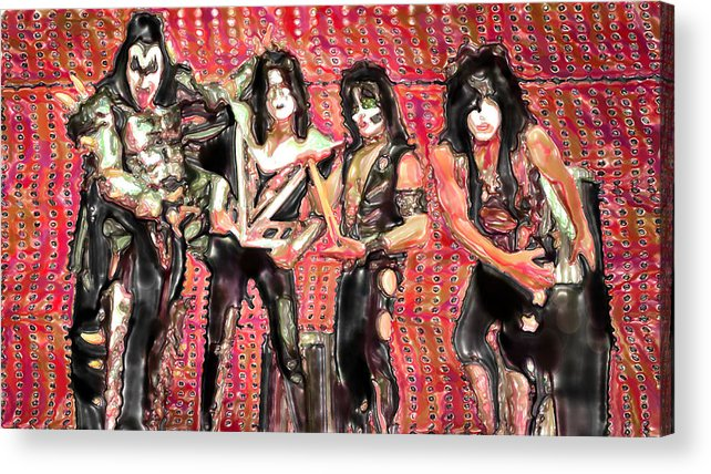 Watercolor Acrylic Print featuring the mixed media Kiss Watercolor by Lyriel Lyra