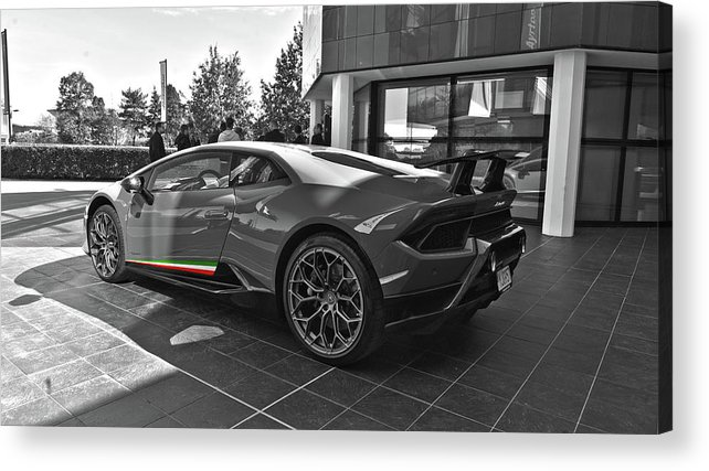 Lamborghini Huracan Performante At Factory In Bw Acrylic Print By