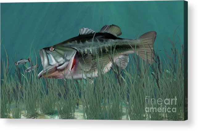 Fish Acrylic Print featuring the digital art Largemouth Bass by Walter Colvin