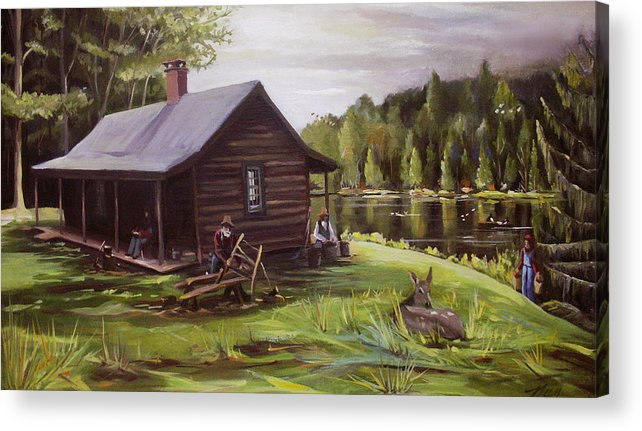 Log Cabin By The Lake Acrylic Print featuring the painting Log Cabin By The Lake by Nancy Griswold