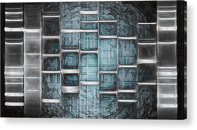 Unique Acrylic Print featuring the painting Metallic Topaz Dna Art by Lisa Camper