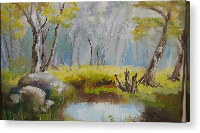 Landscape Acrylic Print featuring the painting My Pond by Mabel Moyano