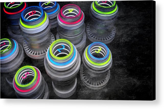 Supply Acrylic Print featuring the digital art Numberz - Cg Render. by Dimitris Christou