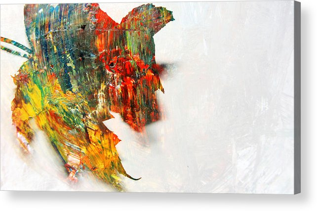 Leaf Acrylic Print featuring the photograph Painted Leaf Abstract 1 by Anita Burgermeister