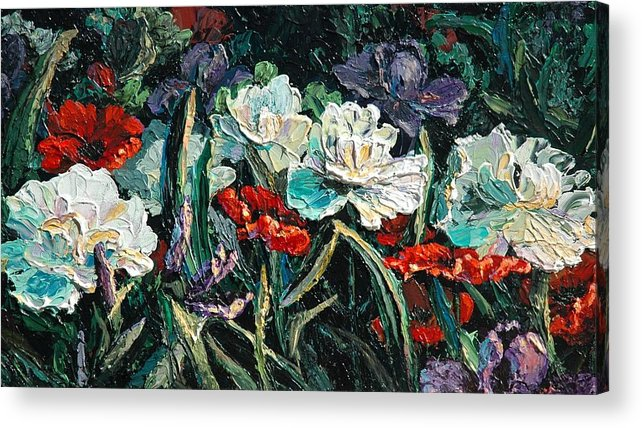 Floral Acrylic Print featuring the painting Peonies by Cathy Fuchs-Holman