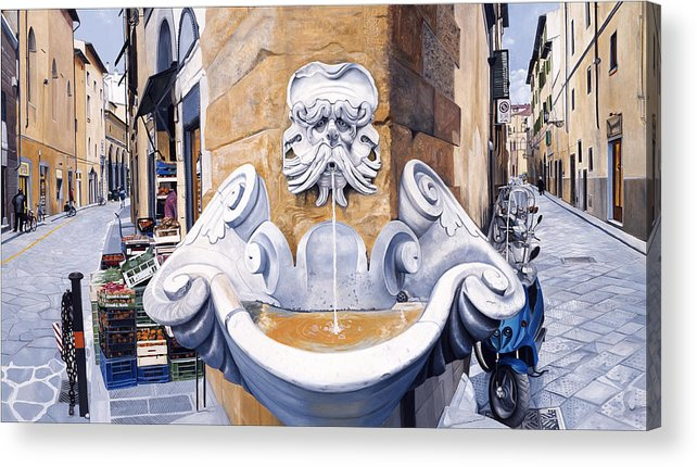 Oil Acrylic Print featuring the painting Piazza Frescobaldi by Matthew Bates