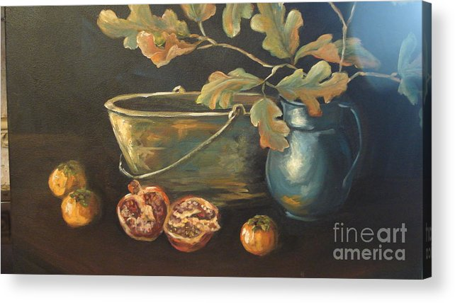 Blue Acrylic Print featuring the painting Reflection by Kathy Brusnighan