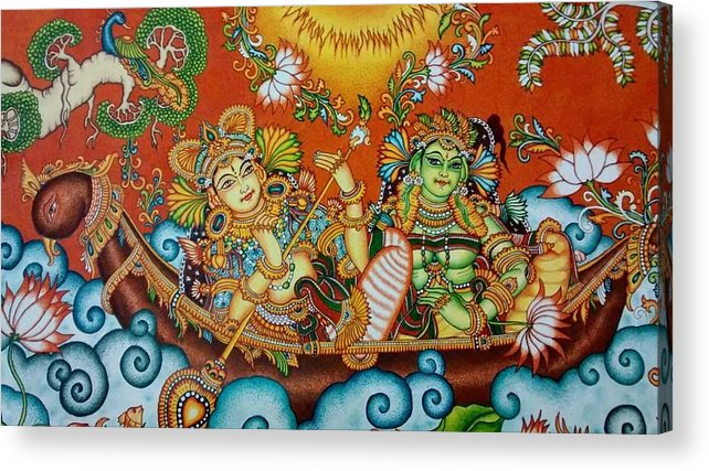 Rendezvous On The Lake Kerala Mural Painting Acrylic Print By