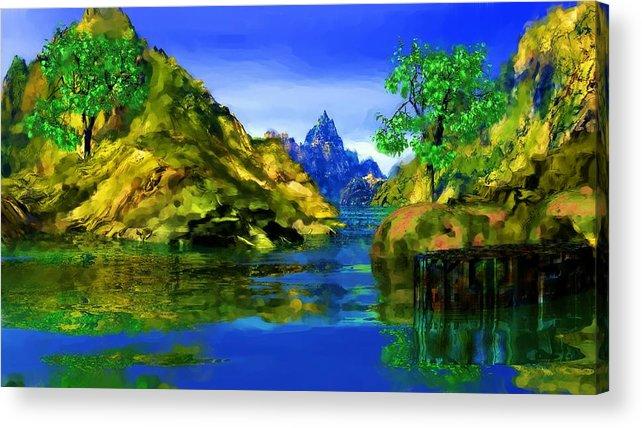 Landscape Acrylic Print featuring the digital art Riverside by David Lane