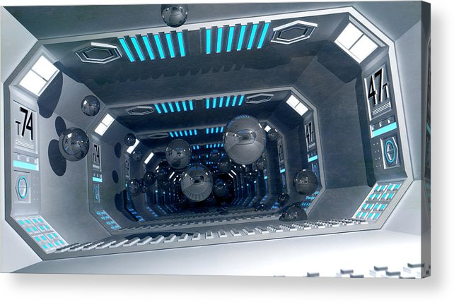 Technology Acrylic Print featuring the digital art Science Fiction Corridor - Spaceballs by Dimitris Christou