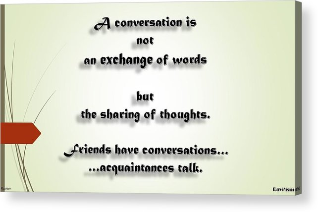 Friends Conversations Acrylic Print featuring the digital art Sharing Of Thoughts by Ravi Kallianpur