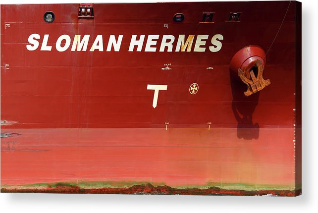 Sloman Hermes Acrylic Print featuring the photograph Sloman Hermes Detail With Anchor 051718 by Mary Bedy