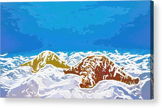 Adventure Acrylic Print featuring the painting Starfish 1 by Lanjee Chee