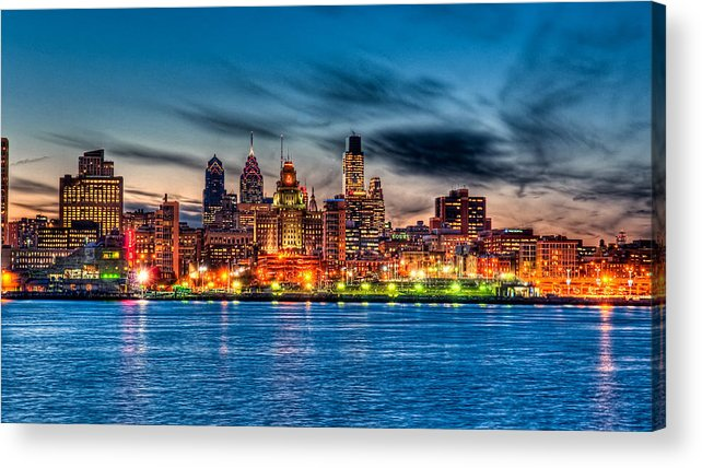 Photography Acrylic Print featuring the photograph Sunset Over Philadelphia by Louis Dallara