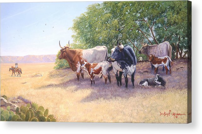 Longhorns Acrylic Print featuring the painting The Lookers by Howard Dubois