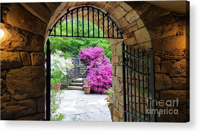 Longwood Acrylic Print featuring the photograph The Tower's Garden Door by Jessica T Hamilton