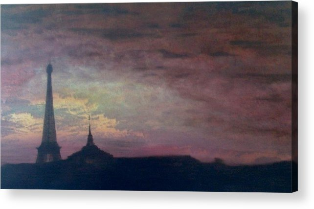 Landscape Paris France Calm Acrylic Print featuring the painting This Is Not The Eiffel Tower by Sally Van Driest