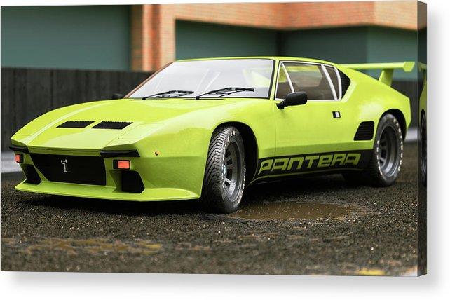 Car Acrylic Print featuring the digital art Tomaso - Pantera 2- Cgi -71 by Ricardo Mota